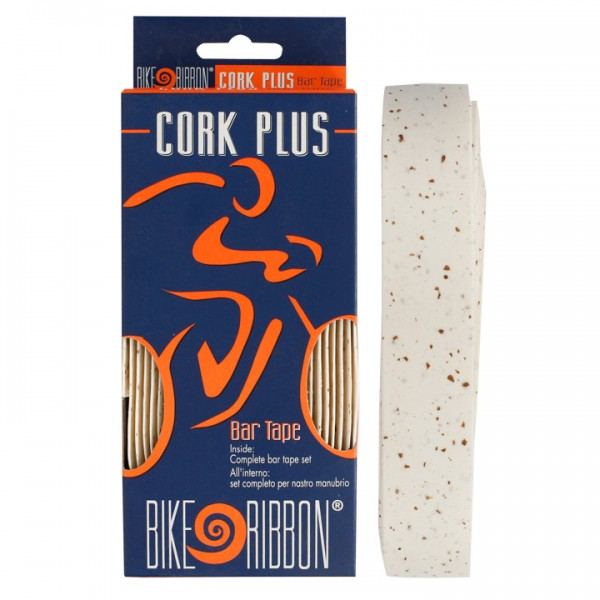 Banda de manillar BIKE RIBBON Cork-Plus blanca