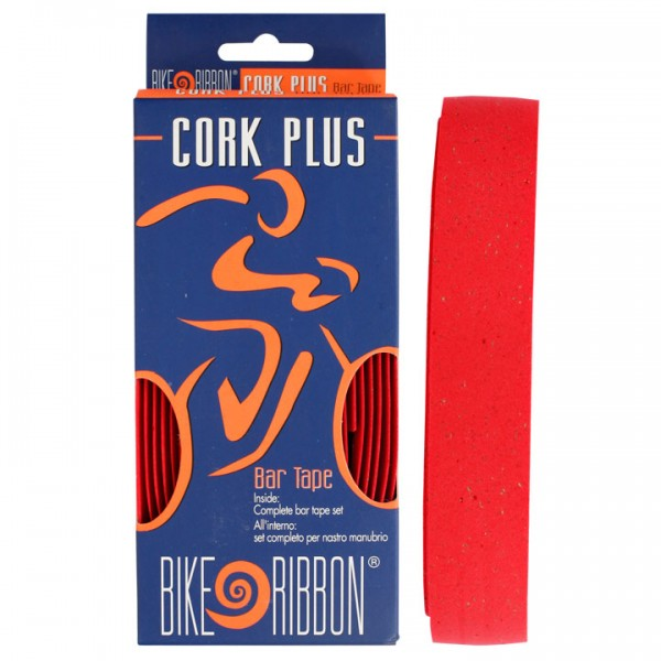 Banda de manillar BIKE RIBBON Cork-Plus roja