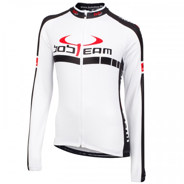 Maillot femenino mangas largas BOBTEAM COLORS blanco blanco - negro
