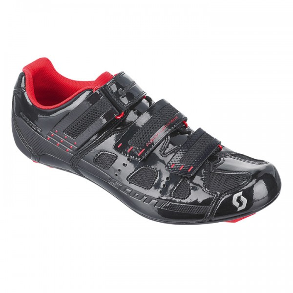 Zapatillas carretera SCOTT Road Comp negras lacadas-rojas